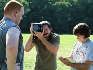 As a student, Bachelor Sports Editor Aaron Parrish '08 (rt.) teamed up for football news on the field.
