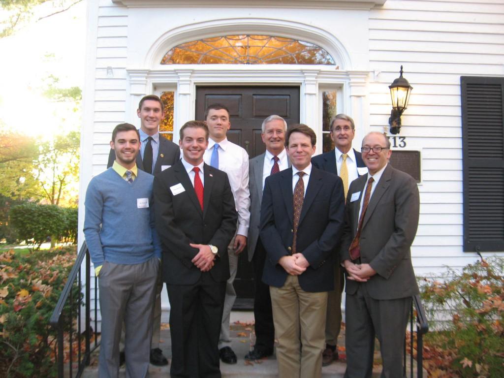 Row 1: Jacob Burnett '17, Adam Burtner '17, Political Science Department Chair Ethan Hollander, President Greg Hess.  Row 2:  Dylan Miller '16, Cole Crouch '17, Steve Coons '63, Phil Coons '67.