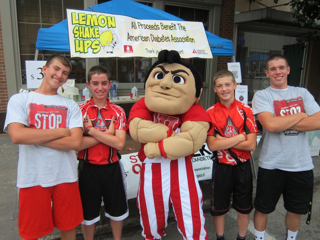 From left:  Austin Manion (son of Mikel Manion '96), Jack Reimondo, Wally, Patrick Scheidler, and Nathan Jent.