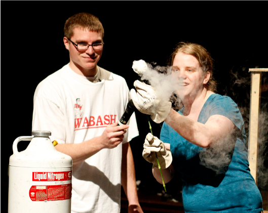 Student James Gorman '13 participated in an experiment during a SPS Physics Demo Show on campus.