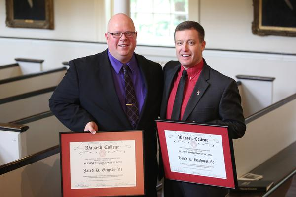 Jared Grigsby '01 pictured with fellow Alumni Admissions Fellow award winner David Hayhurst '83. Hayhurst recruited Grigsby to Wabash.