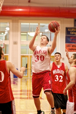 Shawn Tabor with the left-handed move to the basket at the 2010 Alumni basketball game.