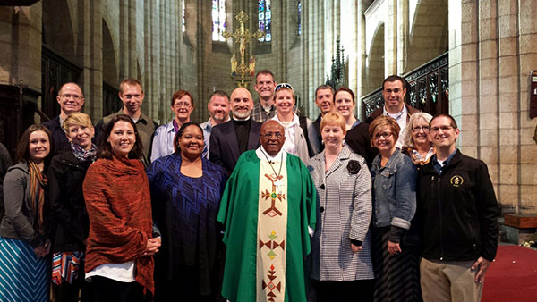 Indiana pastors with the Wabash Pastoral Leadership Program worshipped with Nobel Prize Laureate Archbishop Emeritus Desmond Tutu last Friday on his 83rd birthday.