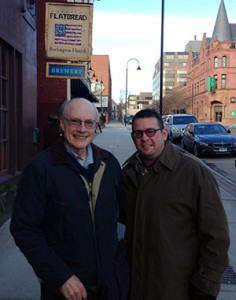 Larry Haugh (left) and Jeff Callane on St. Paul Street in Burlington, VT.