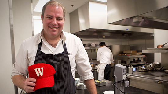 Chef Thomas Lents '95 in the kitchen of Sixteen at Trump Tower.