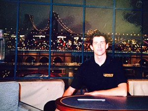 Ryan Smith '03 is one of the lucky few to sit at David Letterman's legendary desk at the Ed Sullivan Theater.