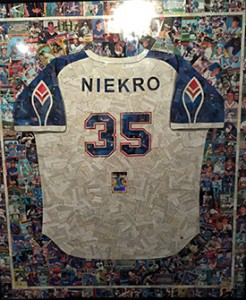 """Phil Niekro"" by LaVern Brock was constructed completely of baseball cards."