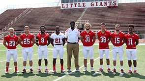 Six of the guys pictured here helped Wabash rush for 513 yards on Sept. 17. Pictured above are (l to r): Bobby Blum '19; Tyler Downing '18; Isaac Avant '20; Shamir Johnson '17; Assistant Coach/RBs Darold Hughes; Matt Penola '19; Cam Morgan '20; Austin Hoover '19; and Lamore Boudoin '20.