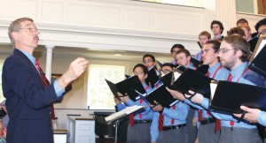 "Dr. Richard Bowen leads the Wabash College Glee Club in singing an early version of ""Old Wabash."""