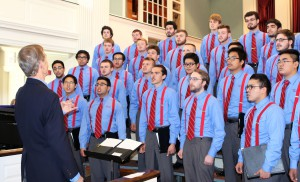 "Bowen and the Glee Club sing today's version of ""Old Wabash."""