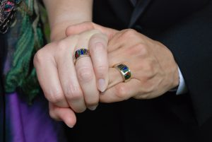 The couple's wedding rings