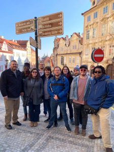 Marlon Lewis '20, far right, and the Theater 303 class in Prague