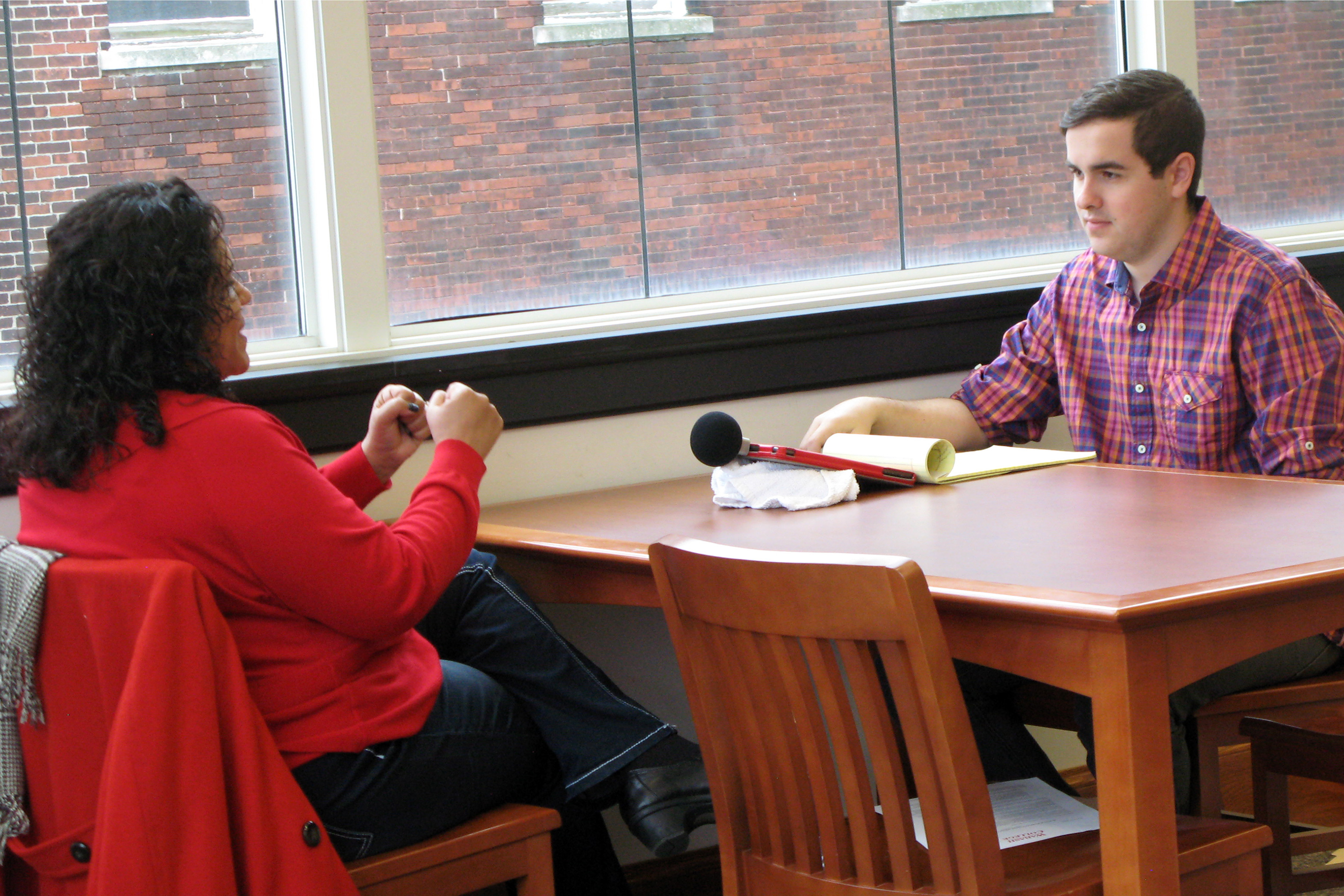 megan talking to student