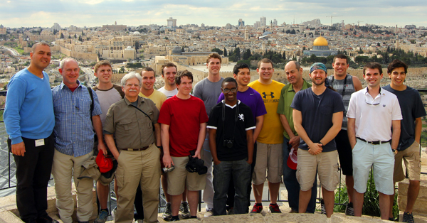The Israel Immersion trip class with Jerusalem in the background.
