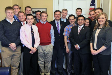 Rep. Luke Messer '91 with Wabash Rhetoric Class.