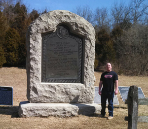 Andrew Schmutte at New York 51st infantry monument at Gettysburg