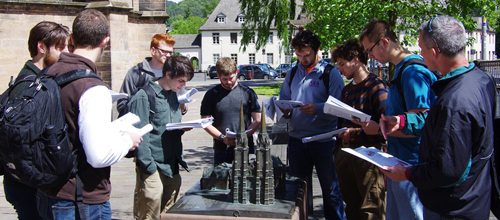 Redding, far right, with students studying Marburg's Elisabethkirche.