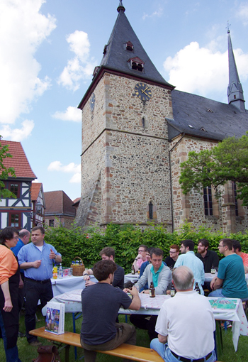 Neustadt Mayor welcomes Wabash guys to his town.