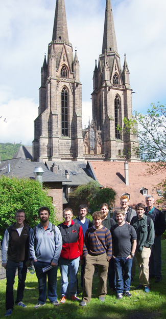 Redding and students with Elisabethkirche in background.