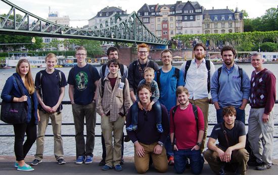 The group visiting Frankfurt, Germany
