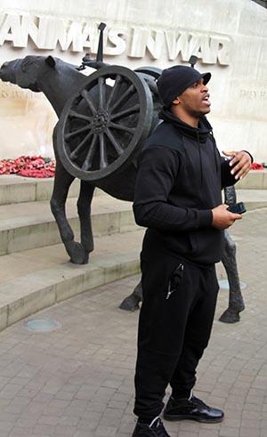 A.J. Clark '16 making his presentation in London