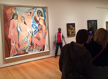 Students snapped pictures of and with MOMA paintings.