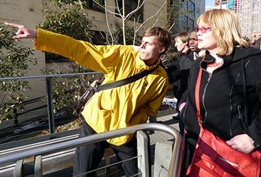 Students in NYC with Art Professor Elizabeth Morton.