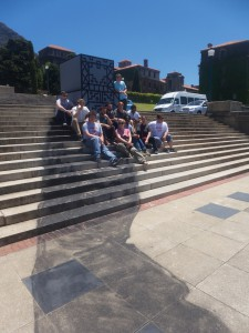 Sitting where the Cecil John Rhodes statue used to be at the University of Cape Town. The shadow that the statue would normally have cast was painted below.