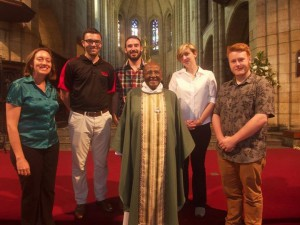 A photo taken with Archbishop Desmond Tutu, notable for his work in the opposition to Apartheid.