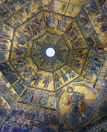 The ceiling in the Florence Baptistry.