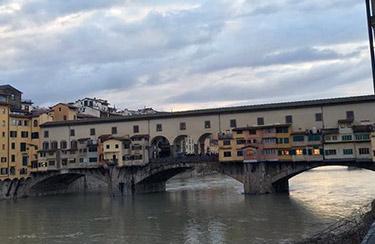 The Vasari Corridor runs atop the famed Ponte Vecchio bridge.