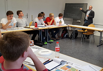 Dr. Jared Sonnicksen '01 explains the German political system.