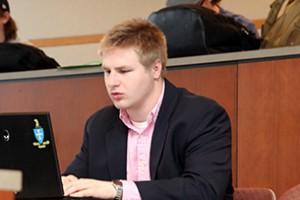 Zurek prepares for an in-class presentation.