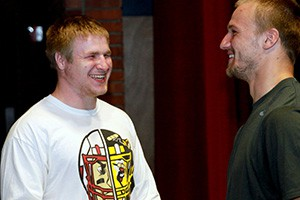 Mason Zurek (left) shares a laugh with Connor Karns in an Intro to Acting class.