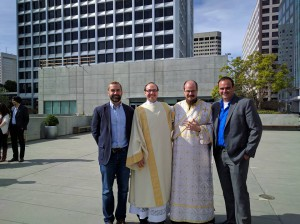L - R: Matt Rose '99, Deacon Sean Salai '03, Deacon John R.P. Russell '03, and Scott Salai '06