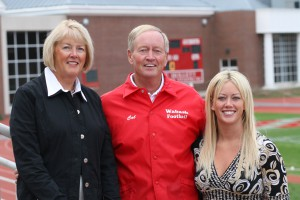 Cal Black '66 and his wife, Marcia, and daughter, Staci, at Little Giant Stadium in 2007.