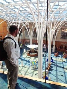 Clanton and Downing '15 look out over the Indianapolis Public Library