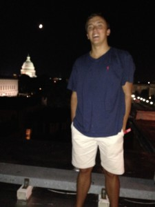 Crouch '17 looks down over the Capitol Building on July 4th
