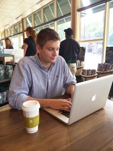 Shank '16 puts Wabash time management skills to use as he works remotely from Chicago Starbucks.