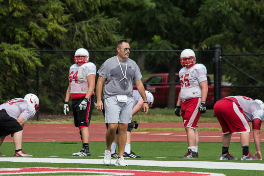 O-line coach Olmy Olmsted