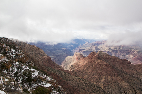 Snow clouds move over the Canyon